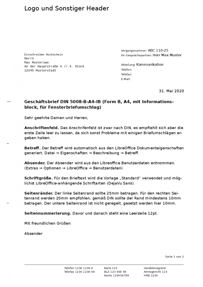 Muster Privater Geschaftsbrief 4